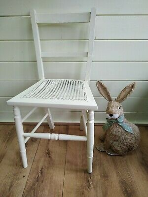 Victorian Chair Wicker Cane Seated Bedroom Hall Chair Painted Cream Vintage Seat