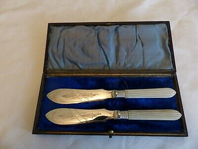 Pair Lovely Victorian Silver Plate Butter Knives In Case. Nice Engraving
