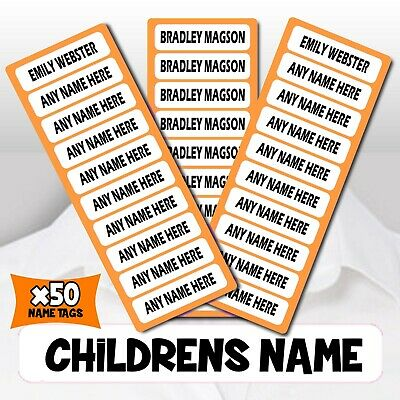 50 BLACK IRON ON Personalised Name Tags School Uniform Kids Clothes Label CUSTOM