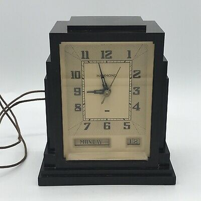 "Vintage HAMMOND 1930's Art Deco ""Skyscraper"" Day/Date Bakelite Electric Clock"