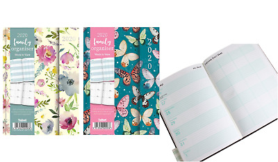 2020 Diary A6 Ladies Family Organiser Diary, Butterfly Or Flower Week To View