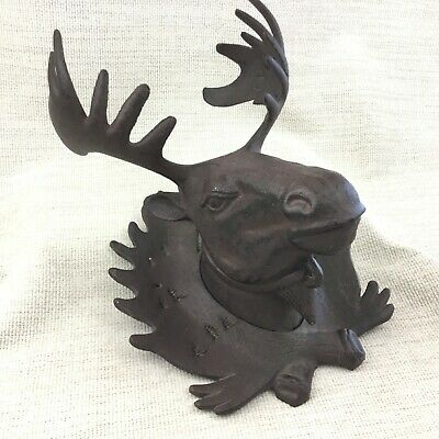 Cast Iron Moose Head Deer Elk Reindeer Large Vintage Rustic Wall Plaque Decor