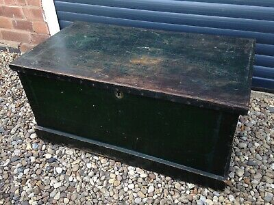 Antique Pine Blanket Box - Original Hand Painted Interior - Vintage Chest Trunk