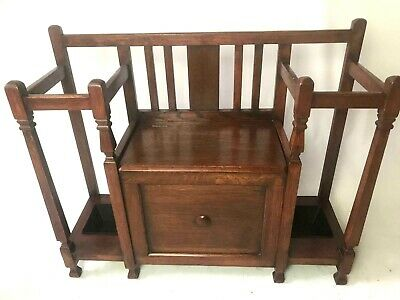 Vintage Oak Monk's Bench Hall Seat Hall Stand Umbrella Stand [5471]