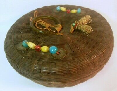 Vintage CHINESE SEWING BASKET Peking Flass COINS Tassels wicker woven