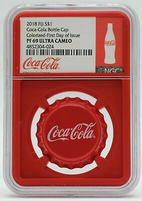 2018 Coca-Cola Bottle Cap Coke Silver Coin NGC PF69 Certified Fiji $1 - JC865
