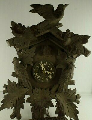 """Bachmaier & Klemmer Carved Wood Vintage Cuckoo Clock Parts/Repair 14"""" Tall"""