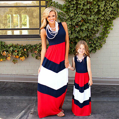 2019 Mommy and me family matching mother daughter dresses clothes striped mom