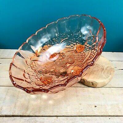 "VTG Indiana Depression Glass Fruit Bowl Large Oval 12""L Footed Peachy Blush Pink"