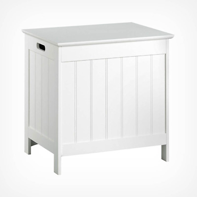 Small White Wooden Laundry Hamper Bin With Lid Slim Narrow Clothes Washing Linen