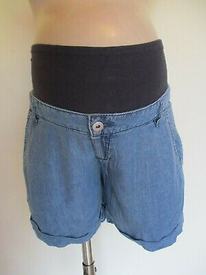 H&M Mama Maternity Blue Under Bump Denim Effect Shorts Size 12