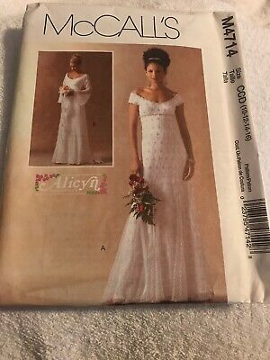 McCalls Sewing Pattern 4714 Misses Bridal Wedding Gowns Size 10 12 14 16 Uncut