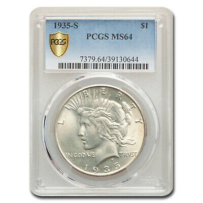 1935-S Peace Dollar MS-64 PCGS