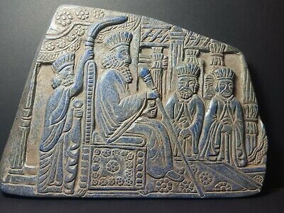 Neareastern the most rare sassan king old lapiz stone historical  relief tile