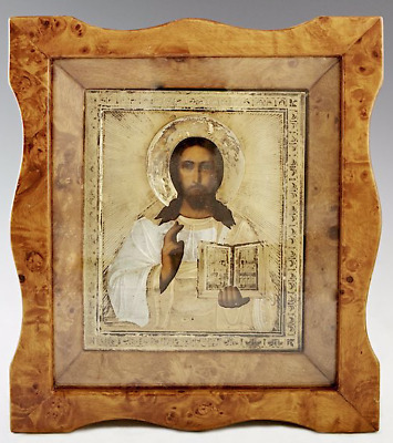 Original 19th C. Russian Icon of Christ Pantocrator, Moscow Gilt Silver Oklad 84