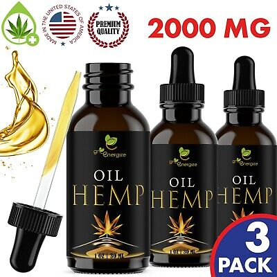 Hemp Oil Extract For Pain Relief, Anxiety, Sleep - 2000 mg 3 Pack