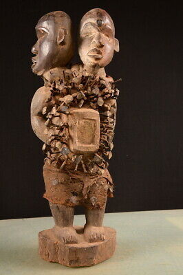 8041 African Old  Bakongo Statue  WOOD CARVED