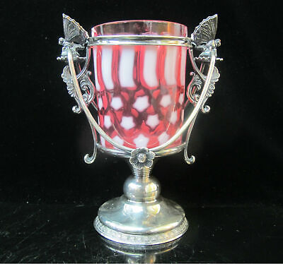 VICTORIAN Cranberry STARS & STRIPES Glass Tumbler Quad Silver BUTTERFLY Basket