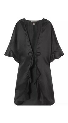 Victoria's Secret Kimono Very Sexy Satin Slip Wrap Robe Black One Size $58 NWT