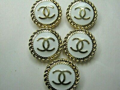 Chanel 5 buttons  18mm lot of 5 WHITE GOLD CC