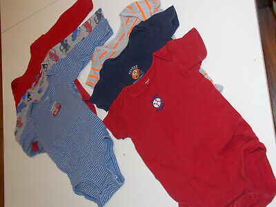 baby boy one piece body suit 12 M 6 pcs lot pre-owned CARTER'S long/short sleeve