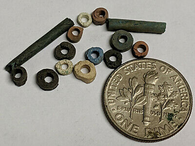 More than A Dozen 2500 Year old Ancient Egyptian Faience Mummy Beads (K6044)