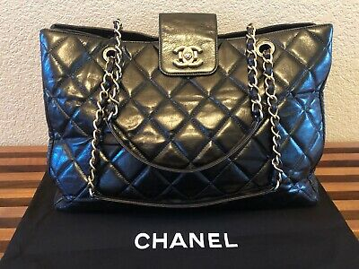 Auth CHANEL Super Model Quilted CC Chain Shoulder Bag Tote Black Leather