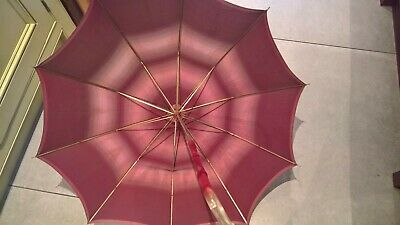Vintage Red/Pink silk umbrella/ parasol with cover