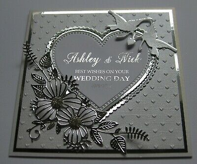 Handmade Personalised - WEDDING Card - Silver / White - CHOOSE NAMES & DATES
