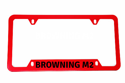 DMD -BROWNING M2- License Plate Frame Aluminium BRIGHT METALLIC RED Quality