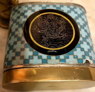 Antique Chinese OPIUM CANISTER or BOX Bronze with Blue Enamel Dragon Medallions