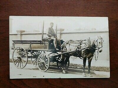 RPPC- Man Near Brick Wall On Horse Drawn Carriage - Early 1900's
