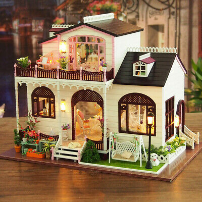 DIY LED Light Bowness Town Miniature Wooden Doll House Villa Furniture Toys Gift