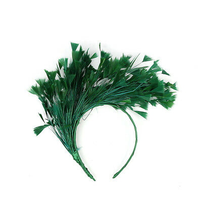 Green Feather Fascinator/Crown/Tiara On Satin Headband, Spring Races,Wedding