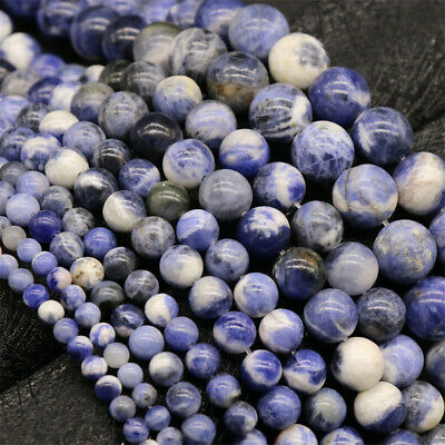 4-12mm Natural Round Sodalite Loose Beads Diy Accessories Healing Hole Top Stone