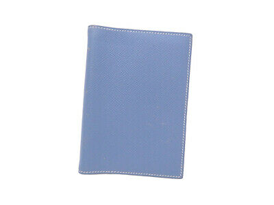 Auth HERMES Square B (1998) Note/Agenda Cover Blue Leather - e42077