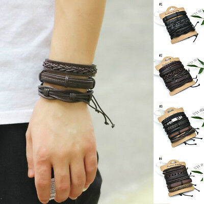 6pcs/set Fashion Mens Punk Leather Wrap Braided Wristband Cuff Bracelet Bangle