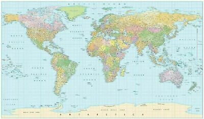 WORLD MAP NEW EDITION UP TO DATE ALL CITY NAMES STRETCHED Choose Canvas Size