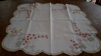 Pretty Vintage Hand Embroidered Tablecloth ~ Tangerine and Golden Yellow Poppies