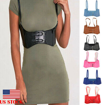 Women Suspenders Elastic Wide Waist Belt Vest Style Waistband Strap Faux Leather