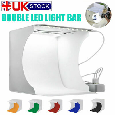 Double Mini LED Protable Photo Studio Photography Light Tent Backdrop Cube Box