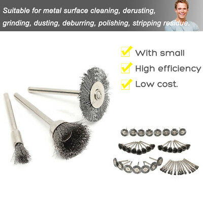 45pcs Stainless Steel Wire Brush Rotary Tool Grinder Removal Wheel for Dremel