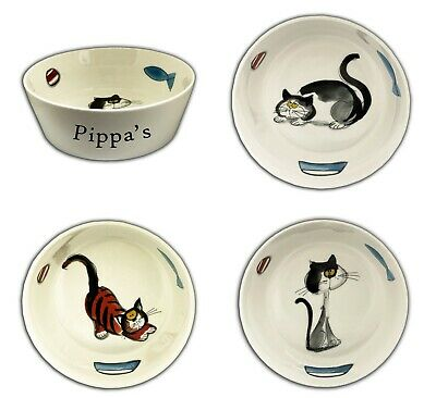 Personalised Any Name Small White Ceramic Pet Bowl, Cat Food, Kitten Water Gift