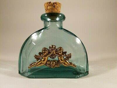 Antique Green Small Bottle / Flask With Two Metallic Angels Cherubs