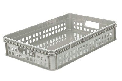 5 x 22 Ltr Heavy Duty Plastic Stacking Euro Storage Containers Boxes Basket GREY