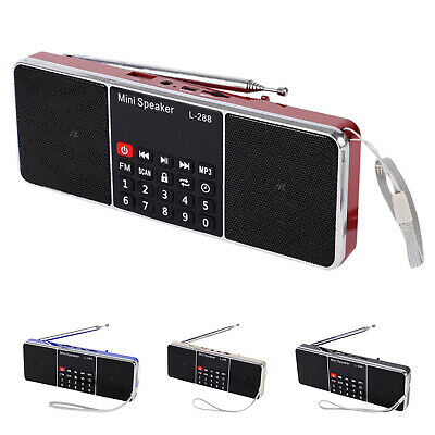 5X(Mini Portable Rechargeable Stereo L-288 FM Radio Speaker LCD Screen Supp 9Z3)