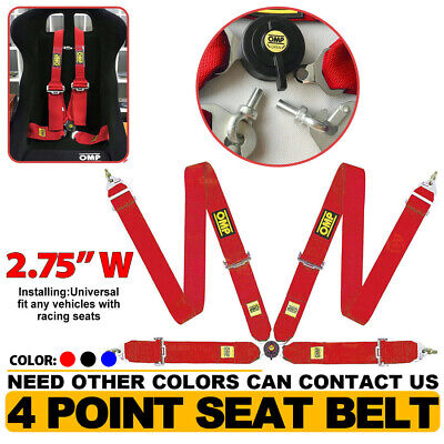 """SABELT LIGHTWEIGHT RACING CAMLOCK HARNESS RED 4 POINT 3/"""" SNAP ON QUICK RELEASE"""