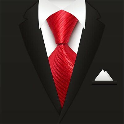 Classic Striped Ties WOVEN JACQUARD Silk Men's Suits Tie Necktie Red V026