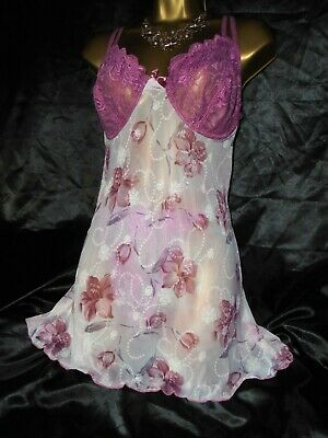 Stunning baby doll  sheer rose with g string panties  cd/tv  50 chest