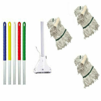 Kentucky Metal Mop Handle With Metal Clip and 3 Mop Heads - Colour Red